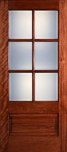 Preston 6-Lite Low-E 1-Panel Mahogany Wood Door Slab