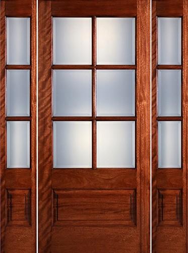 Preston 6-Lite Low-E 1-Panel Mahogany Prehung Wood Door Unit with Sidelites