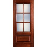 Preston 6-Lite Low-E 1-Panel Raised Mahogany Wood Door Slab