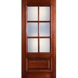 Preston 6-Lite Low-E 1-Panel Raised Mahogany Wood Door Slab