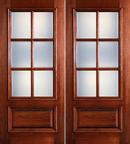 Preston 6-Lite Low-E 1-Panel Raised Mahogany Prehung Wood Double Door Unit
