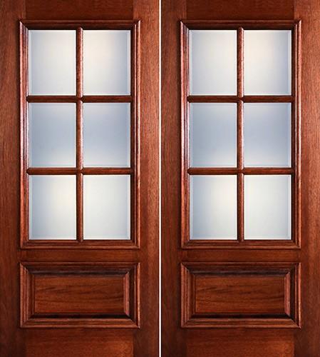 Preston 6-Lite Low-E 1-Panel Raised Mahogany Prehung Wood Double Door Unit