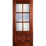 Preston 6-Lite Low-E 2-Panel Raised Mahogany Wood Door Slab