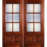Preston 6-Lite Low-E 2-Panel Raised Mahogany Prehung Wood Double Door Unit