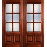 Preston 6-Lite Low-E 2-Panel Raised Mahogany Prehung Wood Double Door Unit