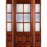 Preston 6-Lite Low-E 2-Panel Raised Mahogany Prehung Wood Door Unit with Sidelites