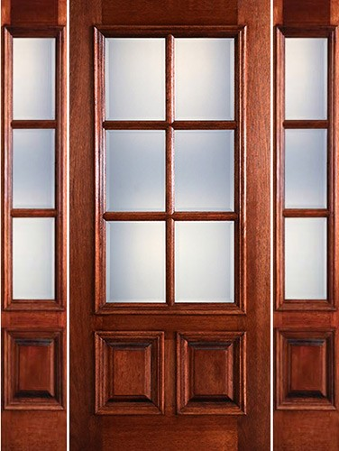 Preston 6-Lite Low-E 2-Panel Raised Mahogany Prehung Wood Door Unit with Sidelites