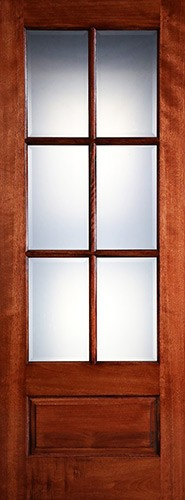 "Preston 8'0"" Tall 6-Lite Low-E 1-Panel Mahogany Wood Door Slab"