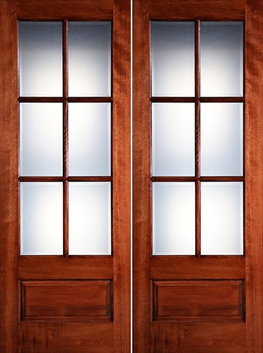 "Preston 8'0"" Tall 6-Lite Low-E 1-Panel Mahogany Prehung Wood Double Door Unit"