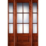 "Preston 8'0"" Tall 6-Lite Low-E 1-Panel Mahogany Prehung Wood Door Unit with Sidelites"