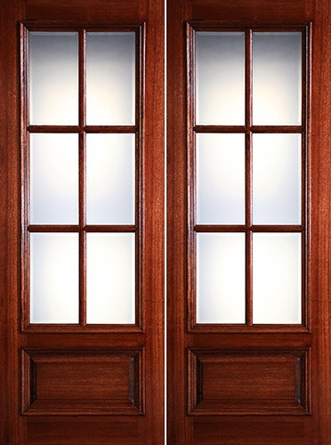 "Preston 8'0"" Tall 6-Lite Low-E 1-Panel Raised Mahogany Prehung Wood Double Door Unit"
