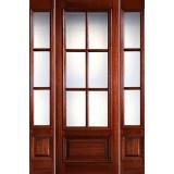 "Preston 8'0"" Tall 6-Lite Low-E 1-Panel Raised Mahogany Prehung Wood Door Unit with Sidelites"