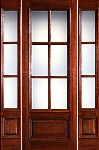 "Preston 8'0"" Tall 6-Lite Low-E 1-Panel Raised Mahogany Prehung Wood Door Unit with Sidelites"