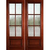 "Preston 8'0"" Tall 6-Lite Flemish 1-Panel Raised Mahogany Prehung Wood Double Door Unit"