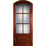 "Preston 42"" x 8'0"" 6-Lite Low-E Arch Top Mahogany Wood Door Slab"