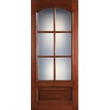 "Preston 42"" x 8'0"" 6-Lite Low-E Square Top Mahogany Wood Door Slab"