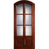 "Preston 42"" x 8'0"" 6-Lite Low-E 2-Panel Raised Wide Mullion Arch Top Mahogany Wood Door Slab"