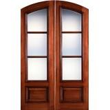 """Preston 8'0"""" Tall 3-Lite Low-E Mahogany Arch Top Prehung Double Wood Door Unit"""