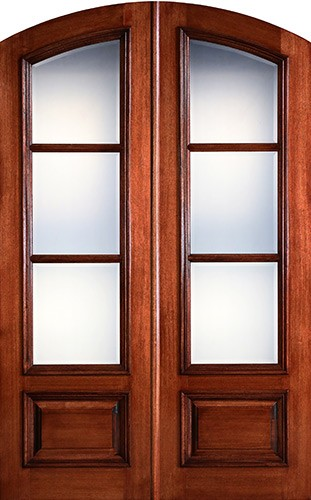 "Preston 8'0"" Tall 3-Lite Low-E Mahogany Arch Top Prehung Double Wood Door Unit"