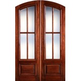 "Preston 8'0"" Tall 4-Lite Low-E Mahogany Arch Top Prehung Double Wood Door Unit"