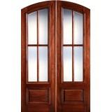 """Preston 8'0"""" Tall 4-Lite Low-E Mahogany Arch Top Prehung Double Wood Door Unit"""