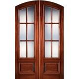 """Preston 8'0"""" Tall 6-Lite Low-E Mahogany Arch Top Prehung Double Wood Door Unit"""