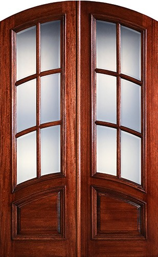 "Preston 8'0"" Tall 6-Lite Curved Low-E Mahogany Arch Top Prehung Double Wood Door Unit"