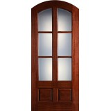 "Preston 42"" x 8'0"" 6-Lite Low-E 2-Panel Wide Mullion Arch Top Mahogany Wood Door Slab"