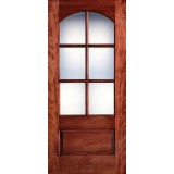 "Preston 36"" x 6'8"" 6-Lite Arch Low-E Mahogany Wood Door Slab"