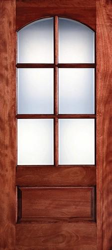 "Preston 36"" x 6'8"" 6-Lite Arch Low-E Mahogany Wood Door Slab"