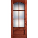 "Preston 36"" x 8'0"" 6-Lite Arch Low-E Mahogany Wood Door Slab"