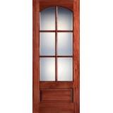 "Preston 36"" x 8'0"" 6-Lite Arch Low-E Mahogany Wood Door Slab"