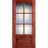 "Preston 42"" x 8'0"" 6-Lite Arch Low-E Mahogany Wood Door Slab"