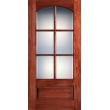 "Preston 42"" x 8'0"" 6-Lite Arch Low-E Mahogany Wood Door Slab"