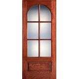 "Preston 42"" x 8'0"" 6-Lite Radius Low-E Mahogany Wood Door Slab"