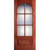 "Preston 42"" x 8'0"" 6-Lite Radius Low-E Mahogany Wood Door Slab"