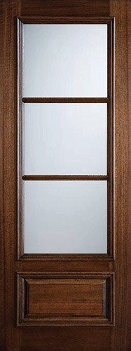 "Preston 36"" x 8'0"" 3-Lite Low-E Mahogany Wood Door Slab"