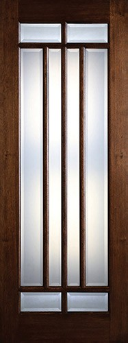 "Preston 36"" x 8'0"" 8-Lite Marginal Low-E Mahogany Wood Door Slab"