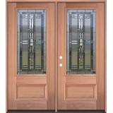 3/4 Lite Mahogany Wood Double Door Unit #277