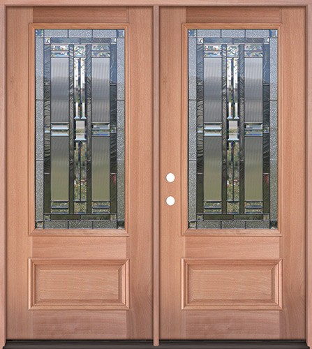 3/4 Lite Mahogany Wood Double Door Unit #277