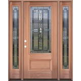 3/4 Lite Mahogany Wood Door Unit with Sidelites #277