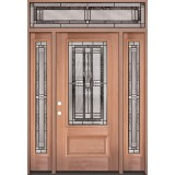 3/4 Lite Mahogany Wood Door Unit with Transom #277