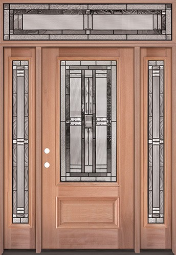 3/4 Lite Mahogany Wood Door Unit with Transom #277
