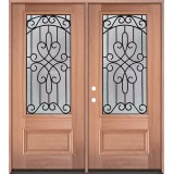 3/4 Lite Mahogany Wood Double Door Unit #279