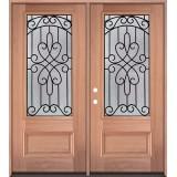 3/4 Lite Mahogany Wood Double Door Unit #279