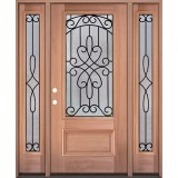 3/4 Lite Mahogany Wood Door Unit with Sidelites #279
