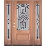 3/4 Lite Mahogany Wood Door Unit with Sidelites #279