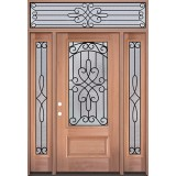 3/4 Lite Mahogany Wood Door Unit with Transom #279