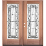 Full Lite Mahogany Wood Double Door Unit #292