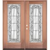 Full Lite Mahogany Wood Double Door Unit #292